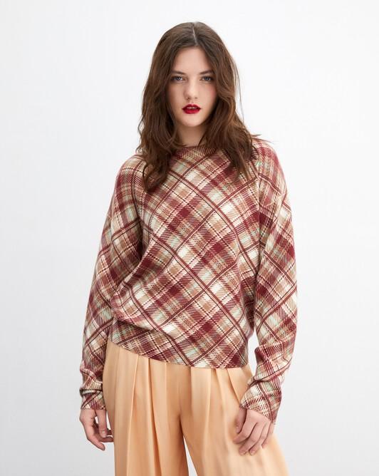Tartan print crew neck pullover - Autumn white