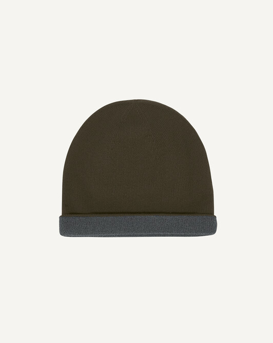 Two-colour off-gauge hat - Kale/college grey
