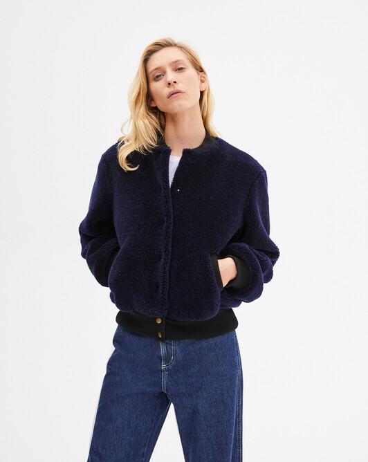 Wool fake fur bomber jacket - Navy blue