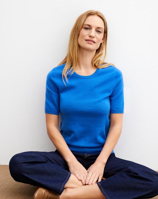 Classic short-sleeved crew neck pullover - French blue