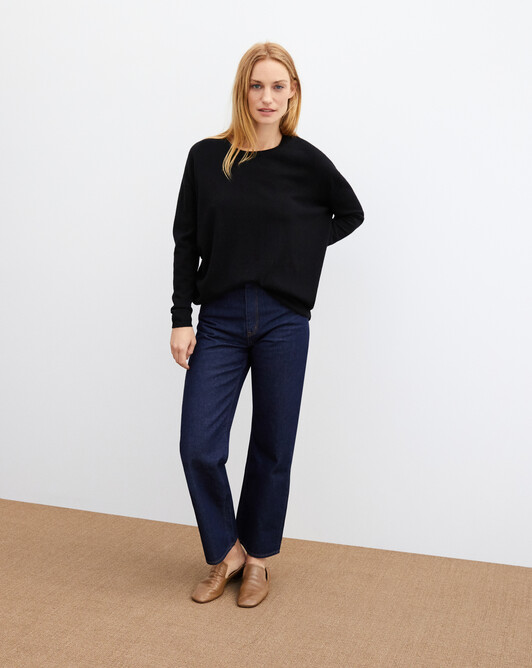 Contemporary maxi crew neck pullover - Black