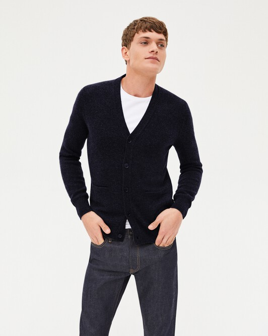 4-ply cardigan - Navy blue