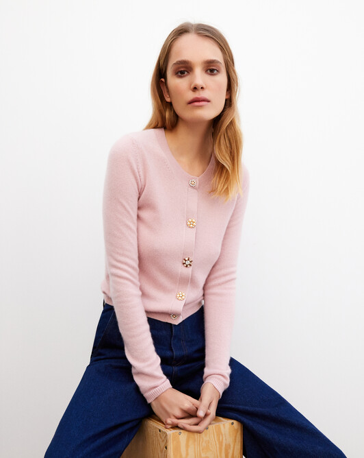 Jewel button cardigan - Dragee pink
