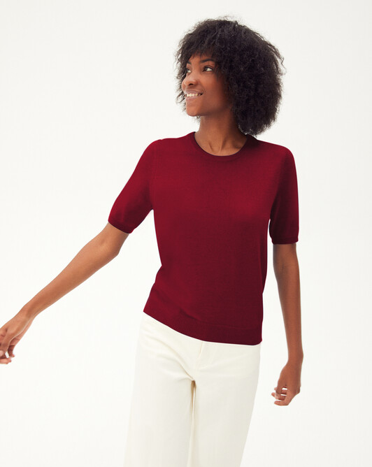 Classic short-sleeved crew neck pullover - Paprika