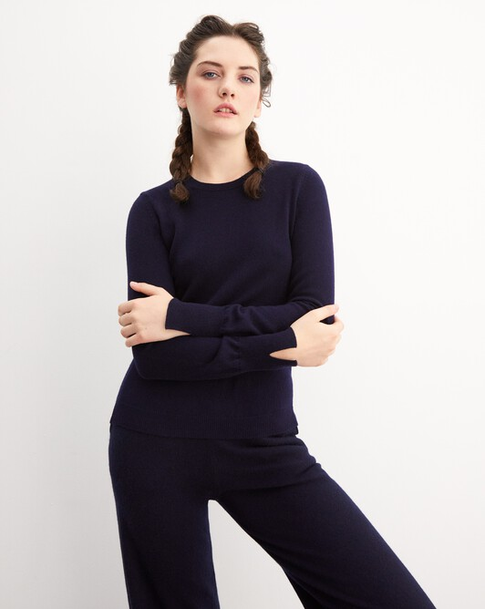 Fitted crew neck pullover - Navy blue
