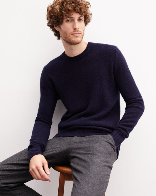 Marl moss stitch crew neck pullover - Navy blue