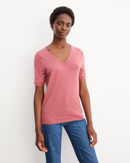 Contemporary extrafine short-sleeved V-neck - Rosewood