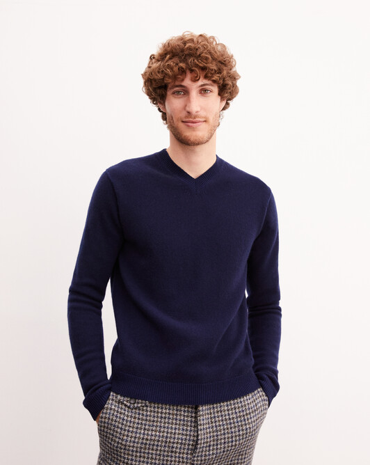 Two-tone plaited V-neck pullover - Navy blue/royal