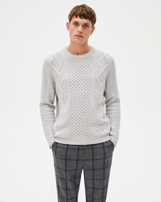 8-ply aran knit crew-neck sweater - Frost grey