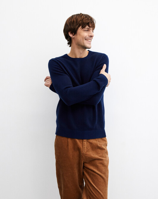 Two-tone plaited crew neck pullover - Navy blue/royal