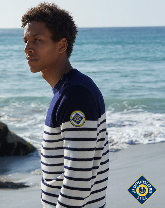 Sailor-style sweater - Navy blue/autumn white