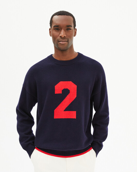 Intarsia 2 crew-neck sweater - Navy blue/ruby red