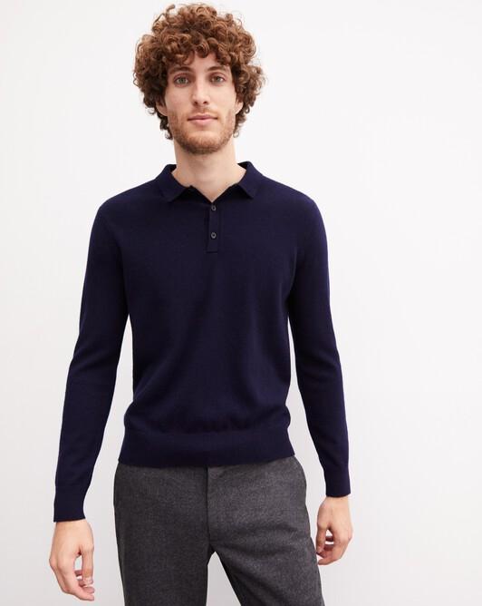 Three-button polo shirt - Navy blue