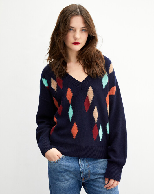 Multicoloured diamond intarsia oversized V-neck pullover - Navy blue