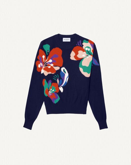 Ras de cou intarsia fleurs colorées - Marine