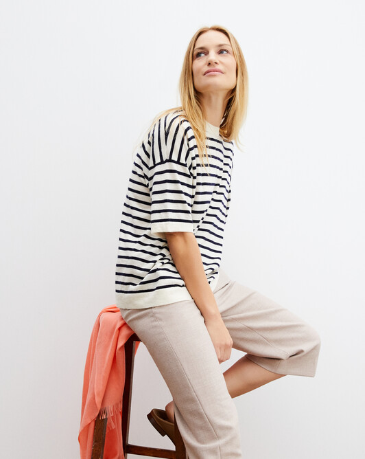 Jersey two-coloured short-sleeved sailor-style crew neck pullover - Autumn white/navy blue