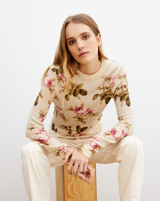 Rose printed crew neck pullover - Lovat green