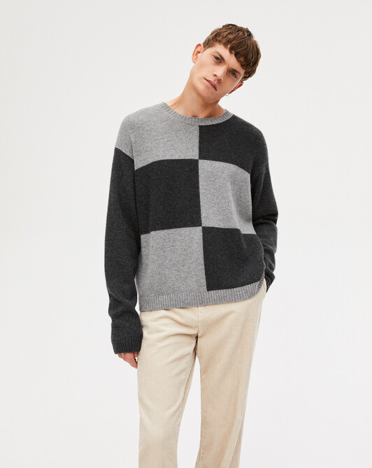 Ras de cou color-block - Anthracite/flanelle
