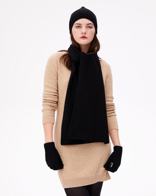 Half cardigan rib scarf - Black