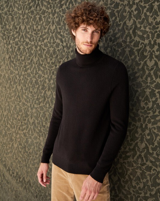 4-ply roll-neck - Ebony