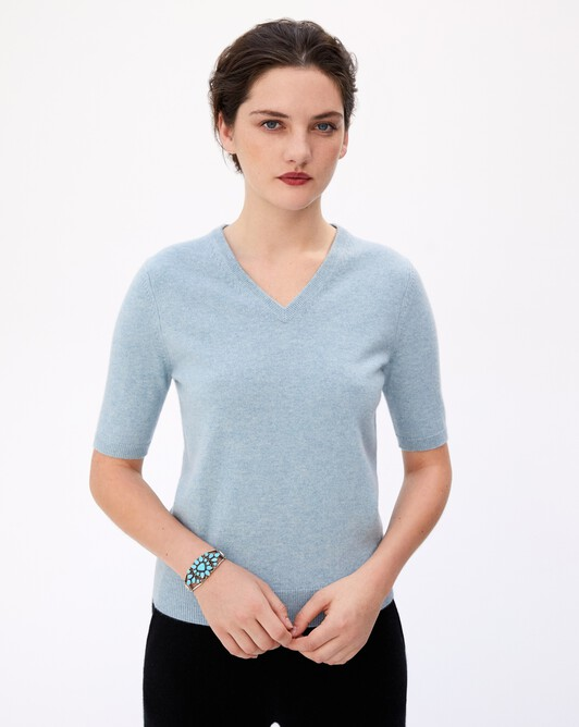 Pull V manches courtes intemporel - Jean