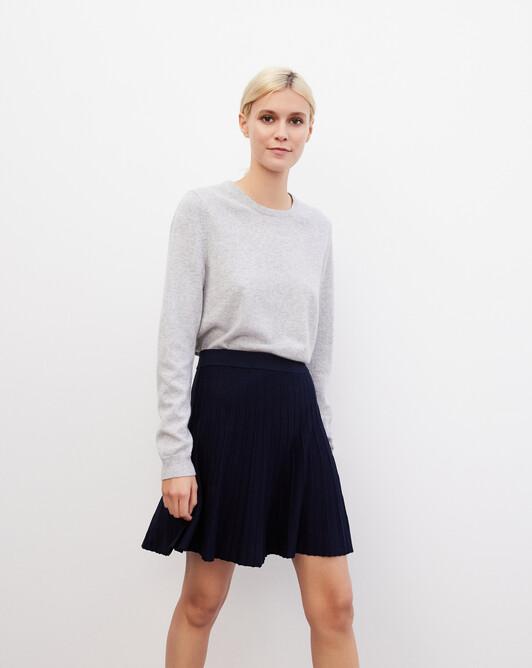 Silk pleated skirt - Navy blue