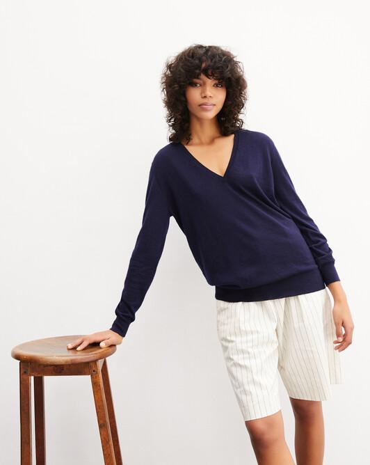 Extrafine oversized V-neck pullover - Navy blue