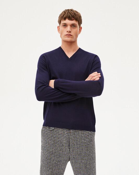 Extrafine V-neck sweater - Navy blue