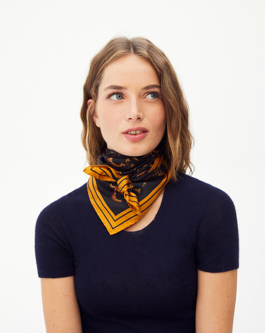 Oasis mini silk square scarf 70 x 70 cm - Black/sand