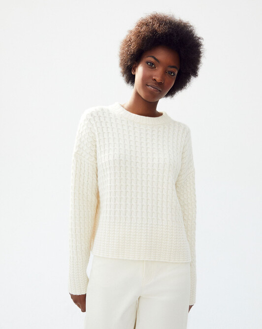 Pull col montant double torsades - Naturel