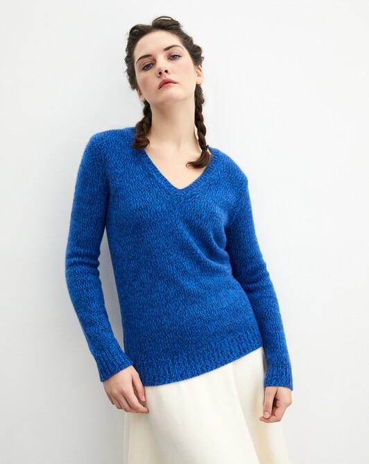 12-ply V-neck pullover - Marled royal/cobalt
