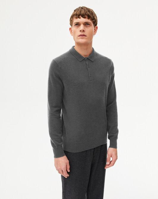 Three-button polo shirt - College grey
