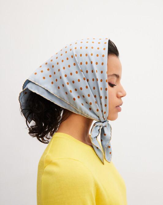 Polka dot printed silk square scarf 65cm x 65cm - Egyptian blue