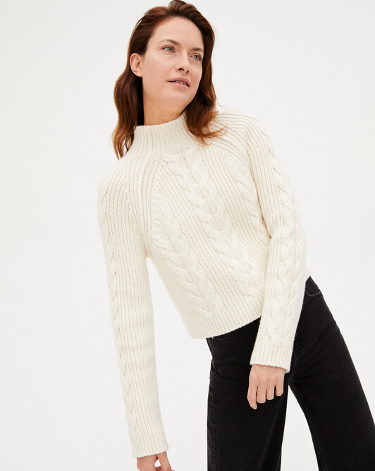 12-plys cable stitch turtleneck sweater sweater - Autumn white