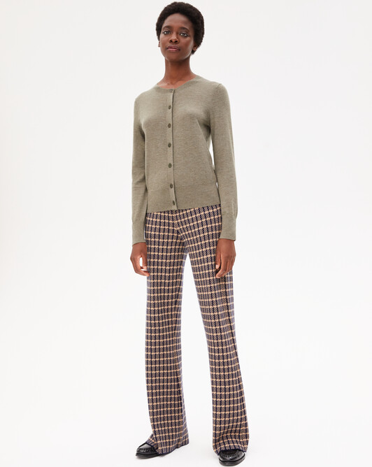 Tailored jacquard trousers - Navy blue/camel