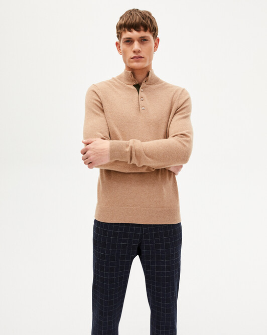 Sweat-shirt bicolore - Camel/kale