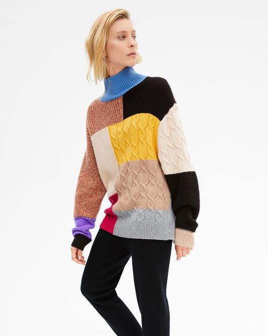 Col roulé patchwork de points 8 fils - Multicoloris