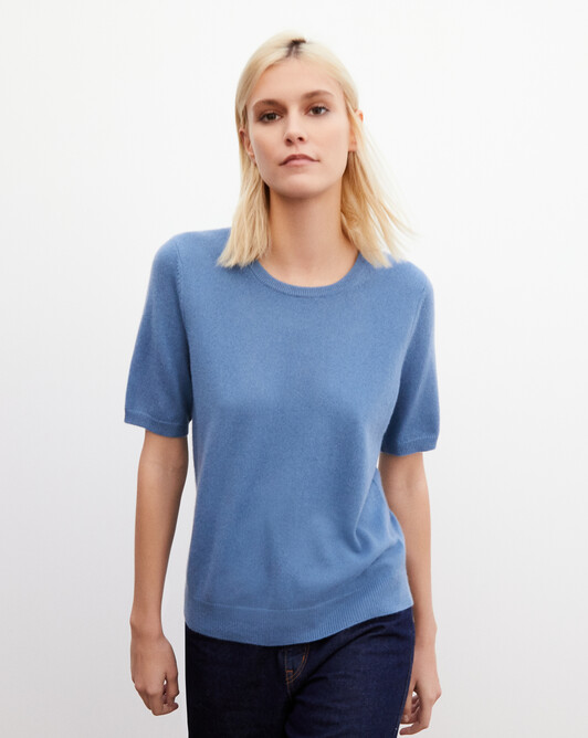 Classic short-sleeved crew neck pullover - Egyptian blue