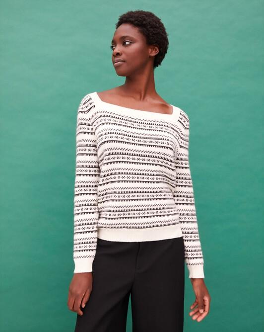 Two-tone jacquard boat collar pullover - Autumn white/ebony