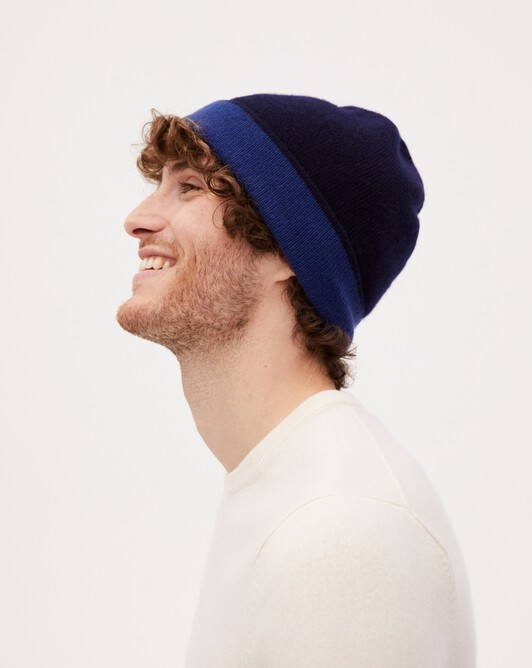 Two-colour off-gauge hat - Navy blue/royal