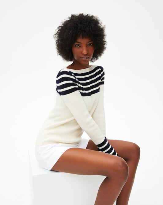 Sailor-style striped crew-neck swetaer - Autumnwhite/navy blue