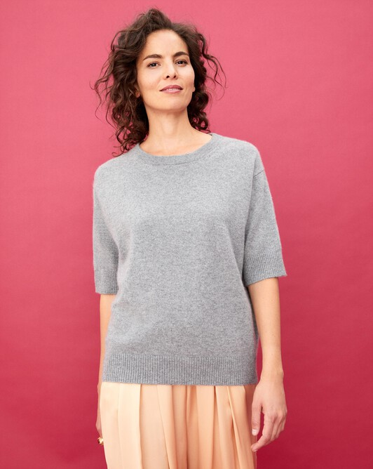 Contemporary short-sleeved maxi crew neck pullover - Flannel grey