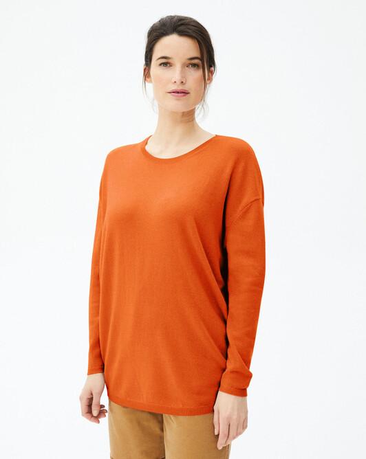 Maxi crew-neck sweater - Saffron