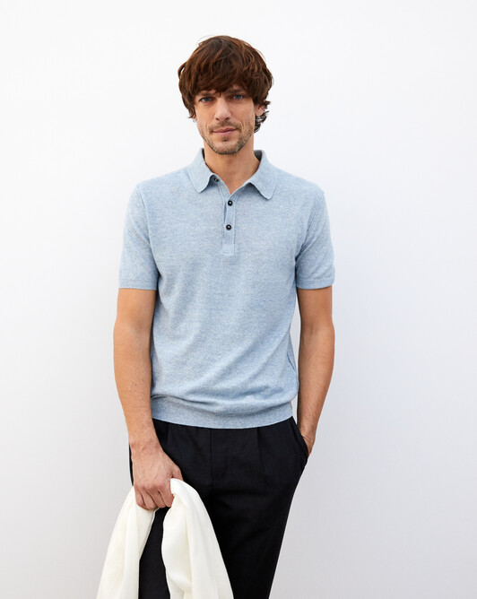Cashmere/linen short-sleeved polo - Denim blue