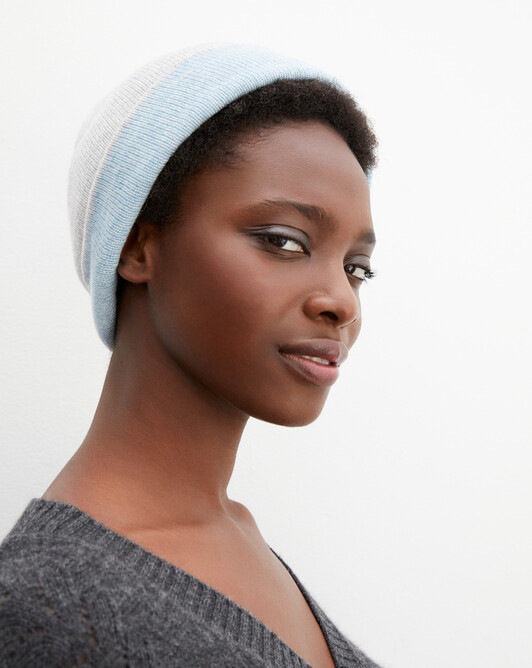 Bonnet déjaugé bicolore - Givre/jean