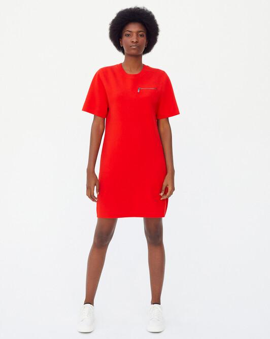 Robe manches courtes zippé milano - Orange cuit