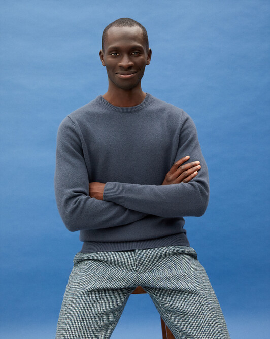 4-ply crew neck pullover - Incense