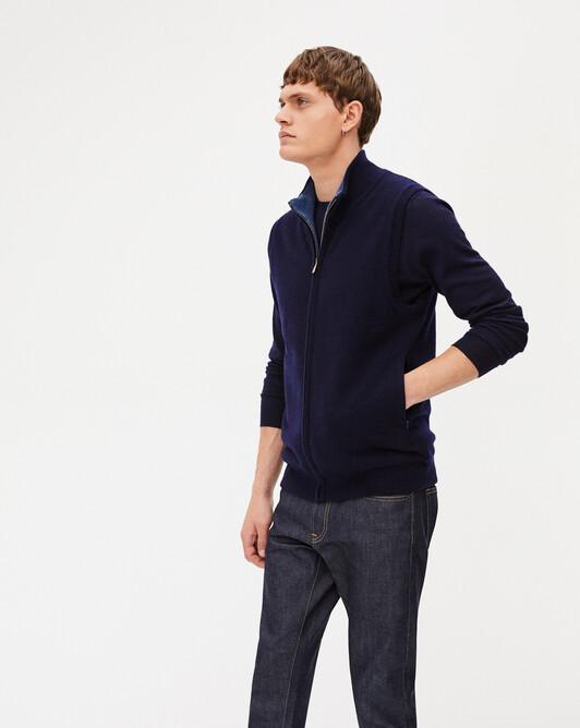 Two-colour zipped sleeveless reversible cardigan - Navy blue/indigo