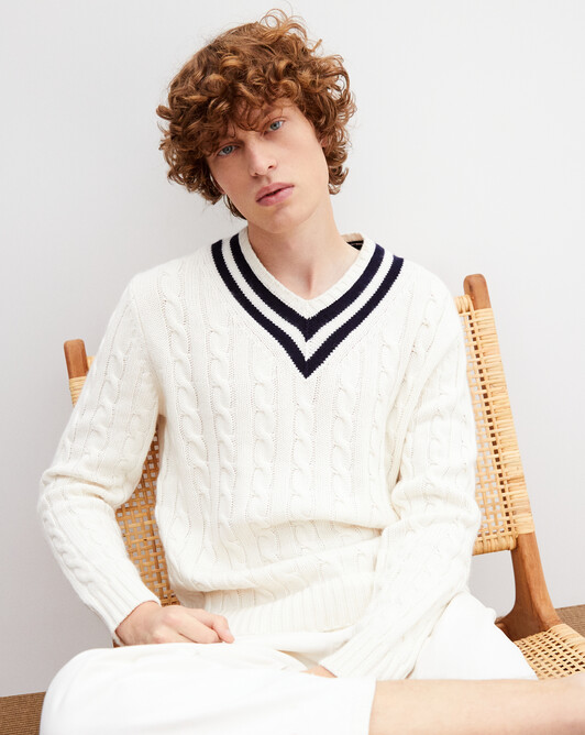 Pull V cricket torsades - Naturel