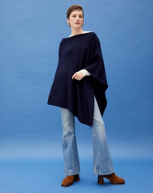 Long poncho - Navy blue